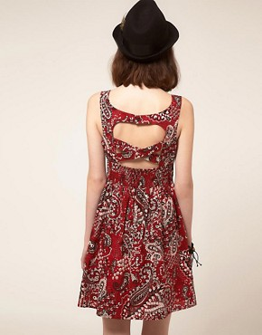 Image 2 ofBand of Gypsies Belted Skater Dress in Bandana Print