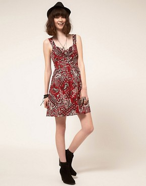Image 4 ofBand of Gypsies Belted Skater Dress in Bandana Print
