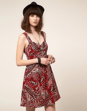 Image 1 ofBand of Gypsies Belted Skater Dress in Bandana Print