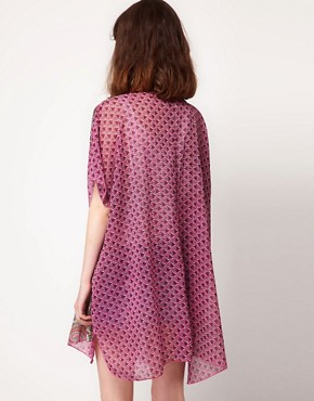 Image 2 ofBand of Gypsies Chiffon Long Kimono Jacket In Indian Print