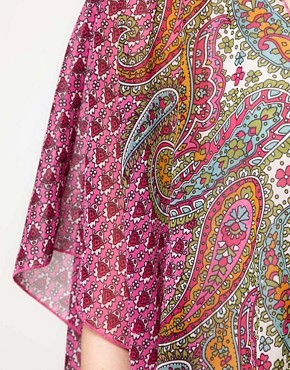 Image 3 ofBand of Gypsies Chiffon Long Kimono Jacket In Indian Print