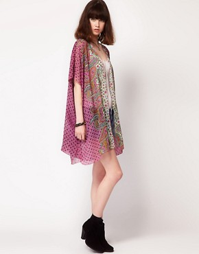 Image 4 ofBand of Gypsies Chiffon Long Kimono Jacket In Indian Print
