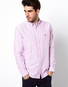 Image 1 ofPolo Ralph Lauren Shirt In Pink Pastel Stripe