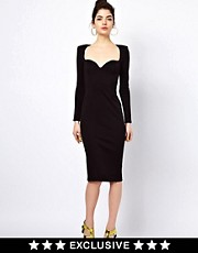 Oh My Love Midi Bodycon Dress with Sweetheart Neckline