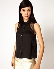 Equipment Mina Sleeveless Silk Shirt with Lace Panels