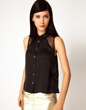 Image 1 ofEquipment Mina Sleeveless Silk Shirt with Lace Panels