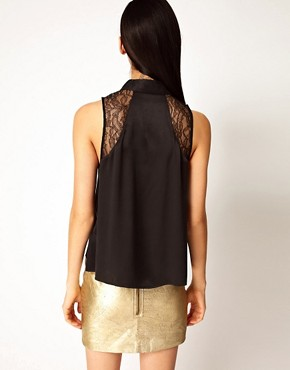 Image 2 ofEquipment Mina Sleeveless Silk Shirt with Lace Panels