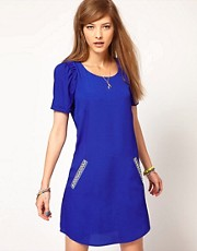 Maison Scotch Shift Dress with Aztec Pockets