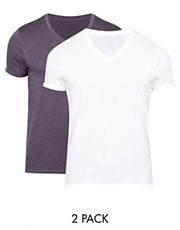 ASOS T-Shirt With V Neck 2 Pack White/Navy SAVE £2