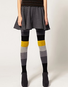 Image 1 ofASOS Colour Block Stripe Tights