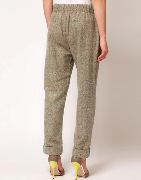 Image 2 of ASOS Flecked Herringbone Trousers With Roll Hem