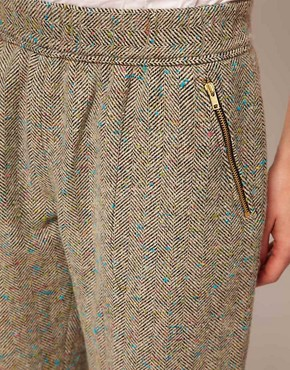 Image 3 of ASOS Flecked Herringbone Trousers With Roll Hem