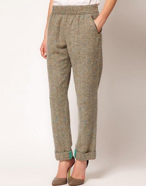 Image 4 of ASOS Flecked Herringbone Trousers With Roll Hem