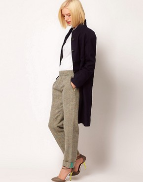 Image 1 of ASOS Flecked Herringbone Trousers With Roll Hem