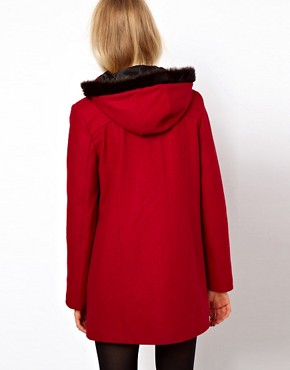Image 2 ofASOS Duffle Coat With Fur Trim Hood