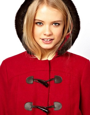 Image 3 ofASOS Duffle Coat With Fur Trim Hood