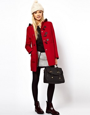 Image 4 ofASOS Duffle Coat With Fur Trim Hood