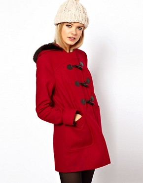 Image 1 ofASOS Duffle Coat With Fur Trim Hood