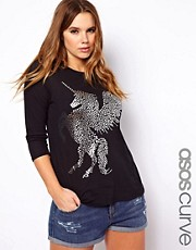 ASOS CURVE Exclusive T-Shirt With Unicorn Print