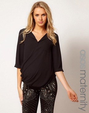 Image 1 ofASOS Maternity Blouse With Dropped Neck and Roll Back Sleeve
