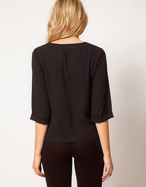 Image 2 ofASOS Maternity Blouse With Dropped Neck and Roll Back Sleeve