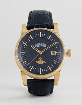 Vivienne Westwood VV065BLBL Leather Watch In Black