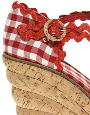 Image 2 ofMiss L-Fire Picnic Gingham Cork Wedge Shoe