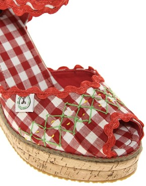 Image 3 ofMiss L-Fire Picnic Gingham Cork Wedge Shoe