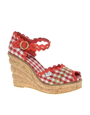 Image 1 ofMiss L-Fire Picnic Gingham Cork Wedge Shoe