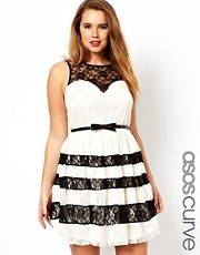 ASOS CURVE Skater Dress With Contrast Lace