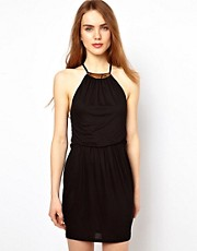 Warehouse Mini Dress With Necklace Detail