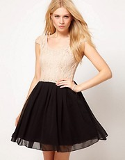Rare Contrast Lace Tutu Skater Dress