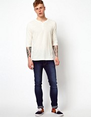 ASOS 3/4 Sleeve T-Shirt With Y-Neck And Slubby Fabric