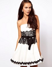 ASOS Bandeau Prom Dress with Eyelash Lace