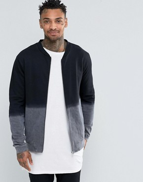 ASOS Jersey Bomber Jacket With Dip Dye