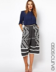 ASOS CURVE Exclusive Culotte In Domino Print