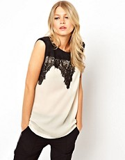 Mango Lace Detail Shell Top