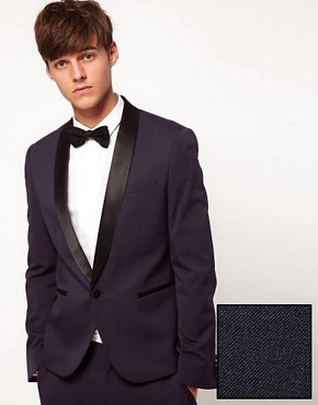 ASOS Skinny Fit Tuxedo Suit Jacket In Navy Polywool