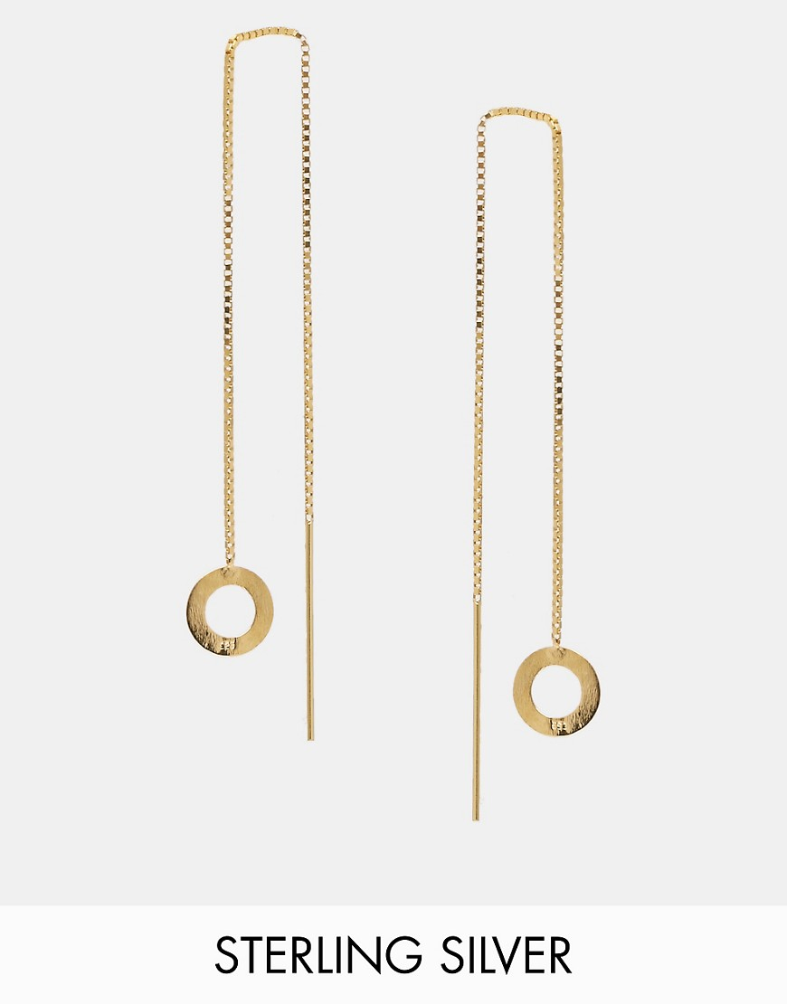 Image 1 of ASOS Gold Plated Sterling Silver Open Circle Chain Earrings