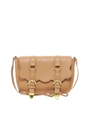 Image 1 ofASOS Scallop Double Buckle Across Body Bag