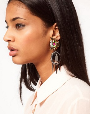 Image 2 ofASOS Rhinestone Spike Doorknocker Earrings
