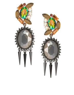 Image 1 ofASOS Rhinestone Spike Doorknocker Earrings