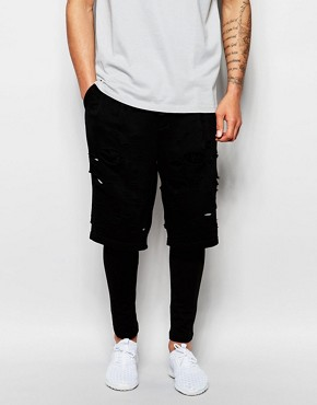 ASOS Meggings With Shorts In Distressed Style