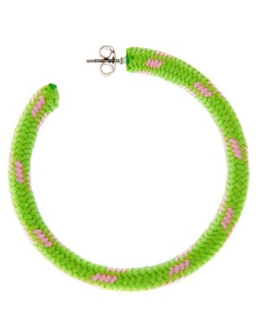 Image 3 ofASOS Neon Cord Hoop Earrings