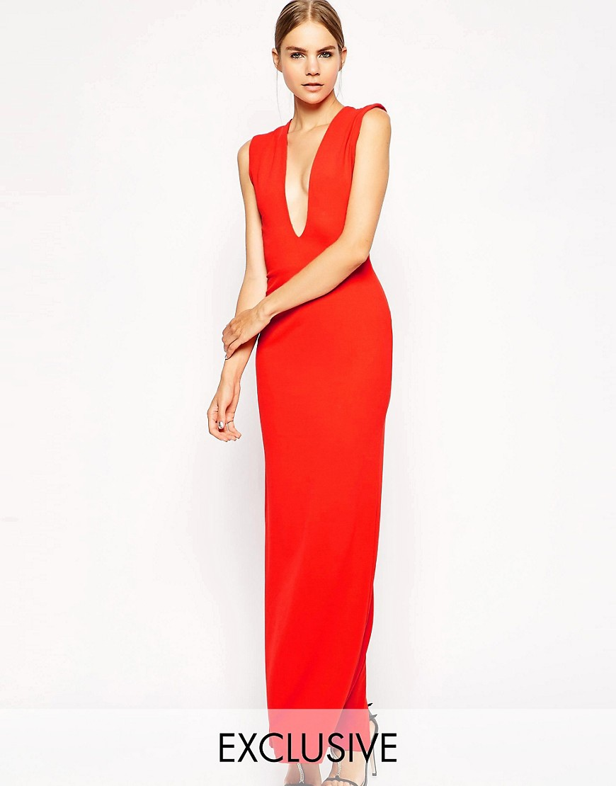 Solace London Aretha Maxi Dress With Plunge Neck and Back - Black