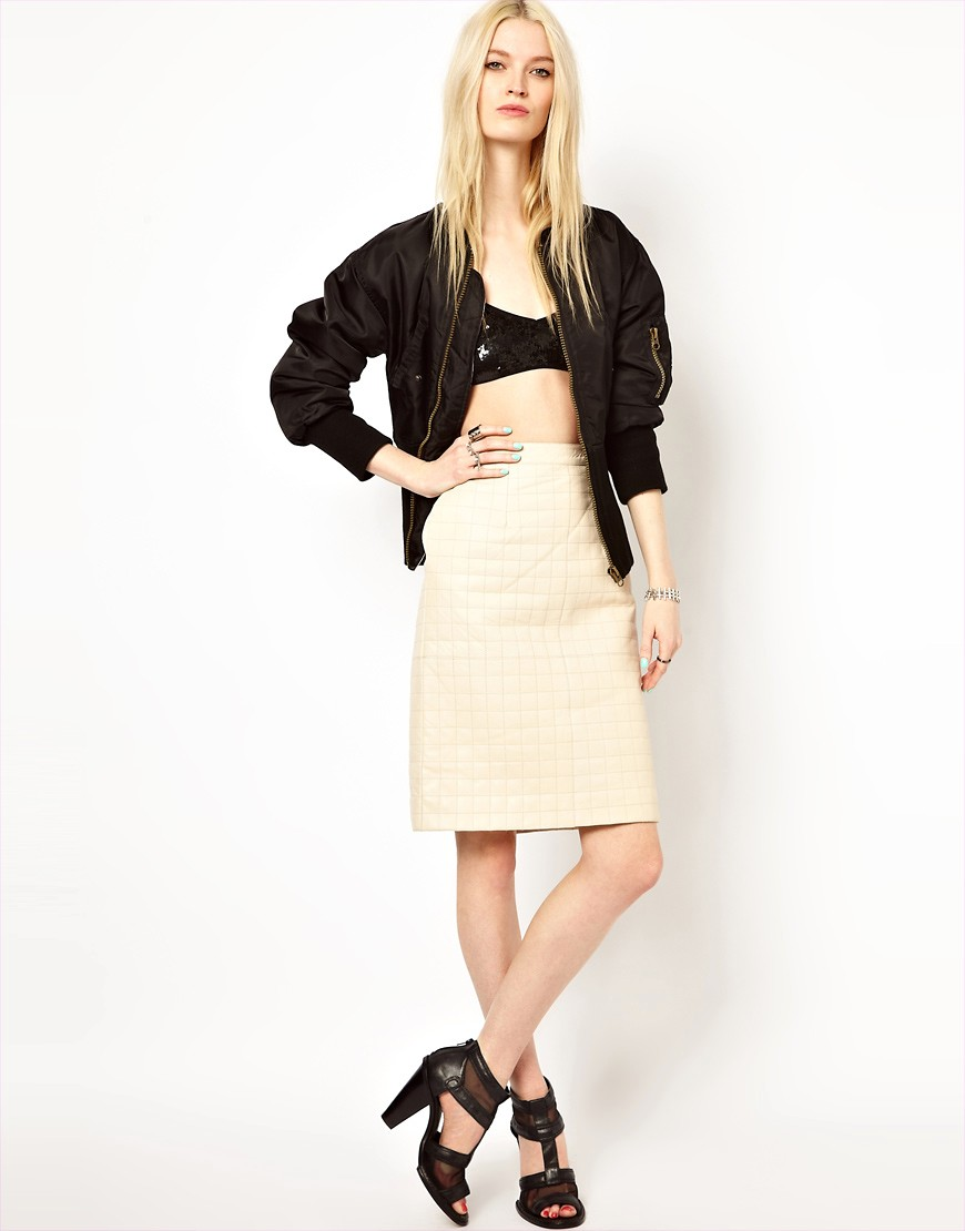 HIDE Jade Quilted Pencil Skirt in Cream - Cream
