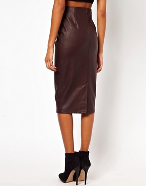 Image 2 ofASOS Pencil Skirt in Leather Look