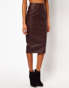 Image 4 ofASOS Pencil Skirt in Leather Look