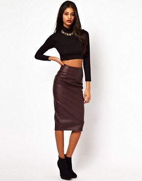 Image 1 ofASOS Pencil Skirt in Leather Look