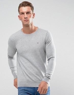Hilfiger Denim Jumper with Crew Neck In Grey Marl